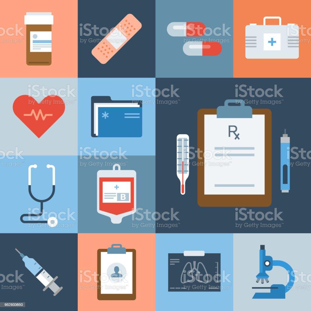 Medical Icon Set — Grid Series vector art illustration