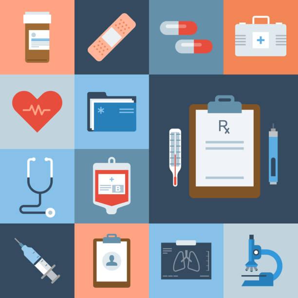 illustrazioni stock, clip art, cartoni animati e icone di tendenza di medical icon set — grid series - scheda clinica
