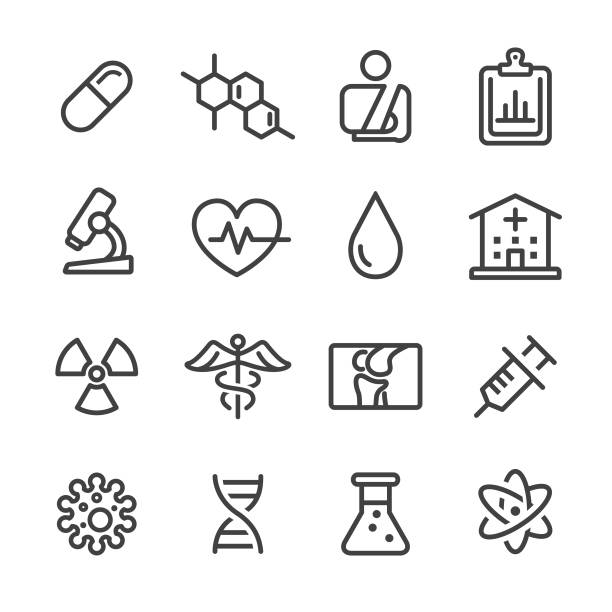 Medical Icon Set - Line Series Medical, healthcare and medicine, science, healthy lifestyle, infectious disease stock illustrations
