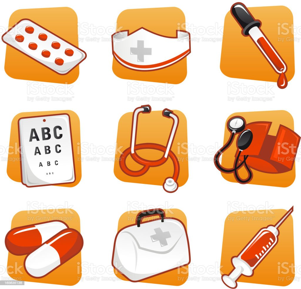 Medical icon set pills nurse dropper syringe royalty-free stock vector art