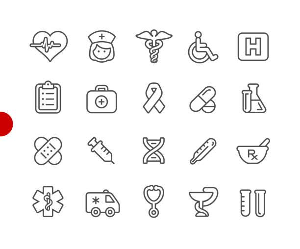 医療のアイコンを設定する//レッド ポイント シリーズ - ヘルメスの杖点のイラスト素材/クリップアート素材/マンガ素材/アイコン素材