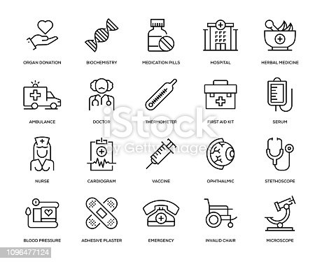 Medical Icon Set - Thin Line Series