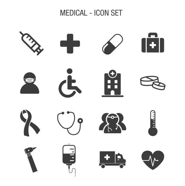 medical icon set - face mask stock illustrations