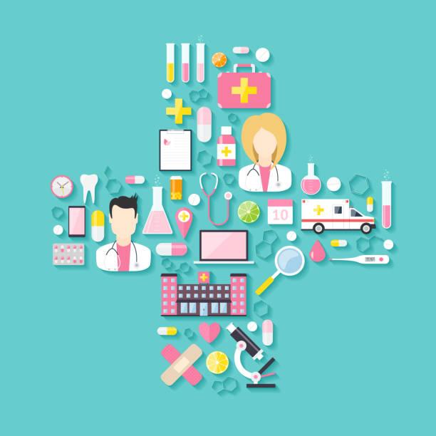 stockillustraties, clipart, cartoons en iconen met medical icon set - doordrukstrip