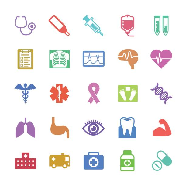 medical icon set - medical exams stock illustrations, clip art, cartoons, & icons