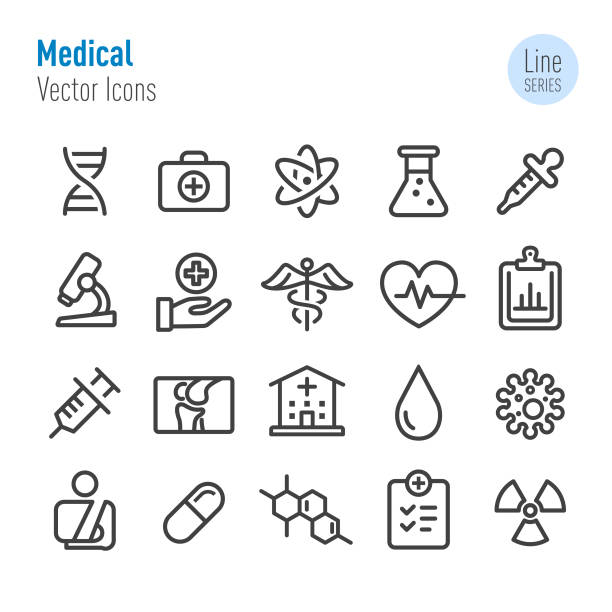 Medical Icon Set - Vector Line Series Medical, healthcare, science, epidemic stock illustrations