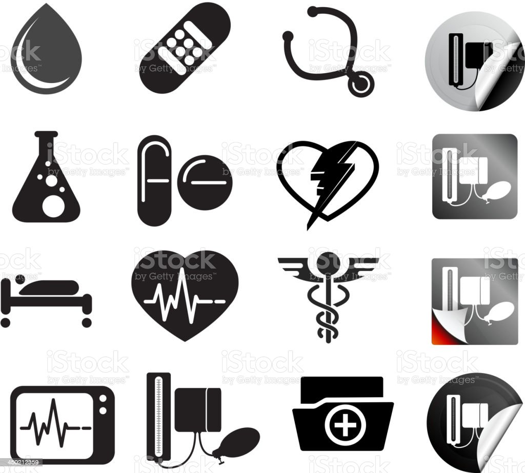 Medical Icon Set with base vector art illustration