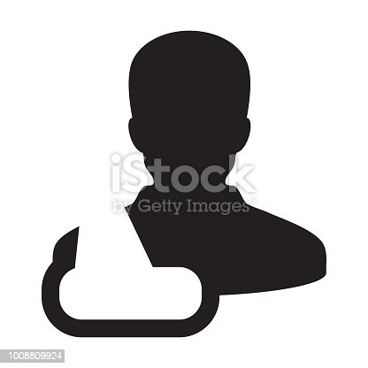 Medical Icon Vector Of Male Person Profile Avatar Symbol For Injury
