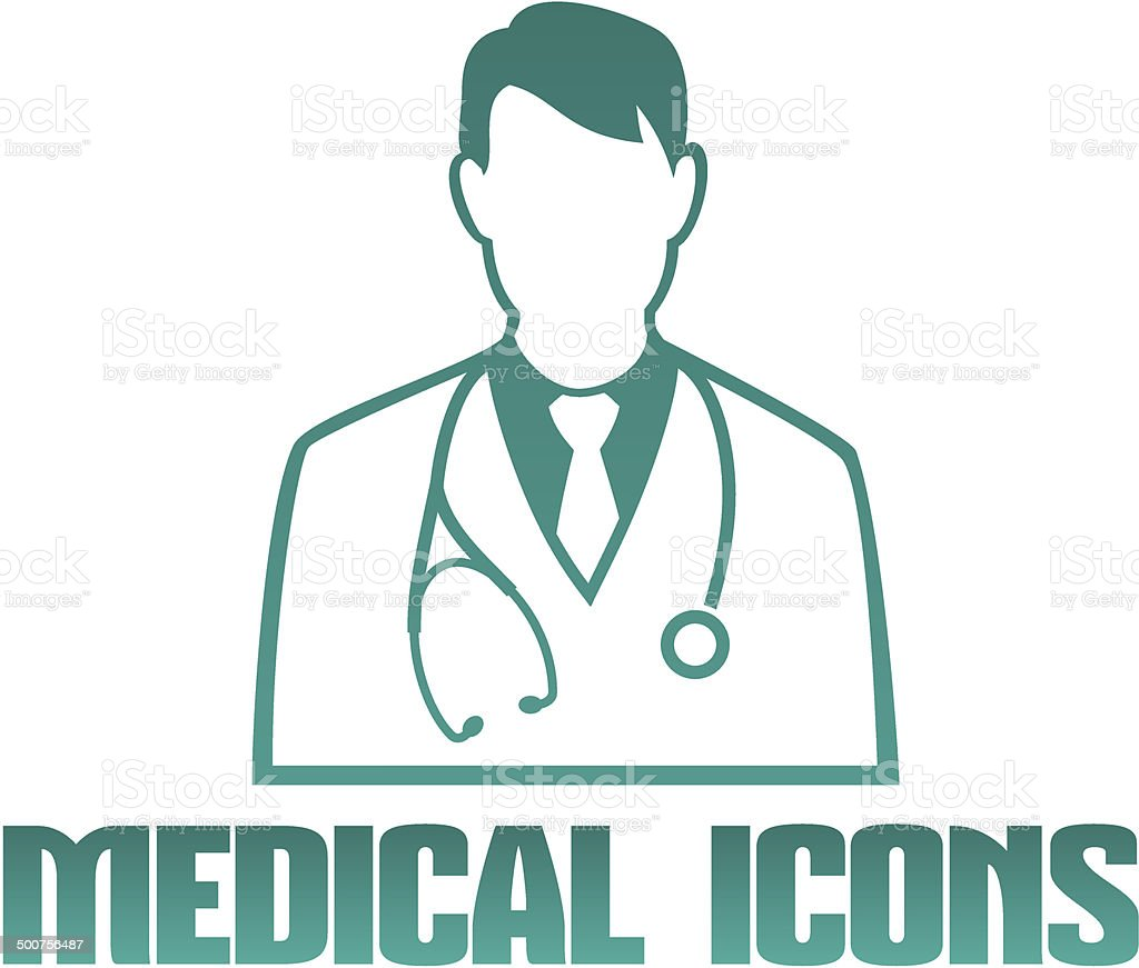 Medical icon with doctor therapist vector art illustration