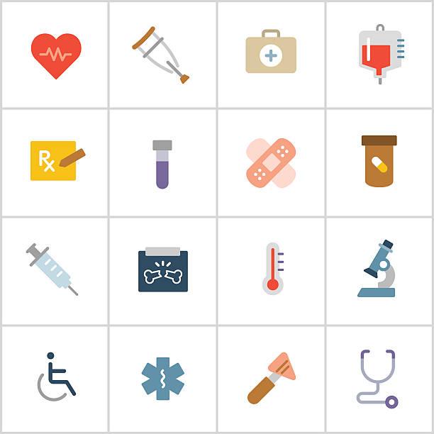 medizinische symbole 1 – polyester-serie - farbwahrnehmung stock-grafiken, -clipart, -cartoons und -symbole