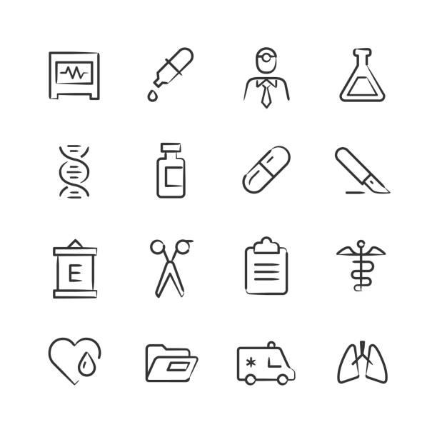 illustrazioni stock, clip art, cartoni animati e icone di tendenza di medical icons 2 — sketchy series - dose
