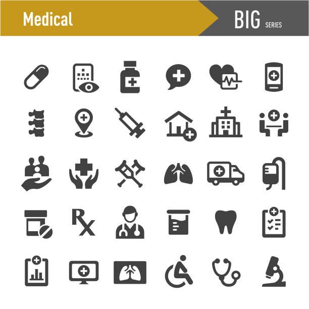 bildbanksillustrationer, clip art samt tecknat material och ikoner med medicinska ikoner-big series - medicinsk undersökning
