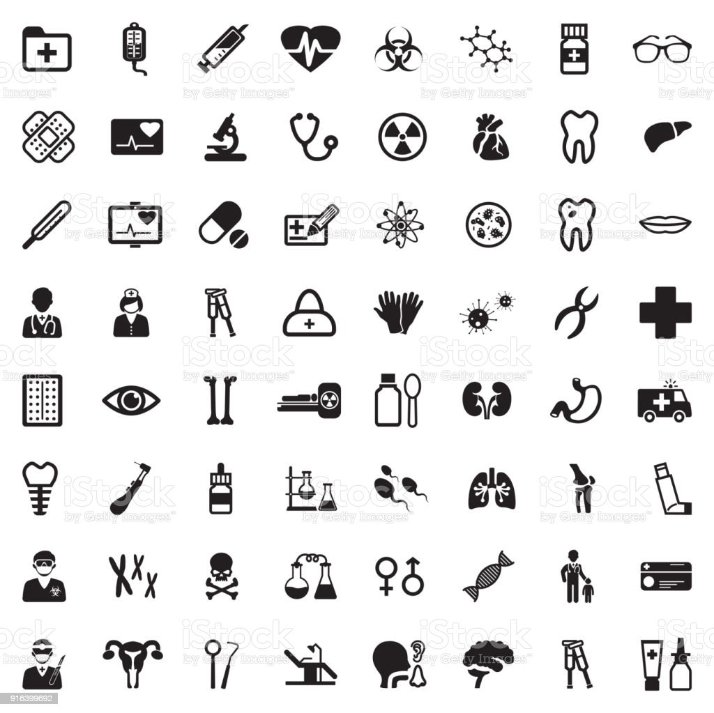 Medical Icons. Black Flat Design. Vector Illustration. - Royalty-free Ambulance stock vector