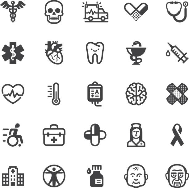 Medical icons - Black series vector art illustration