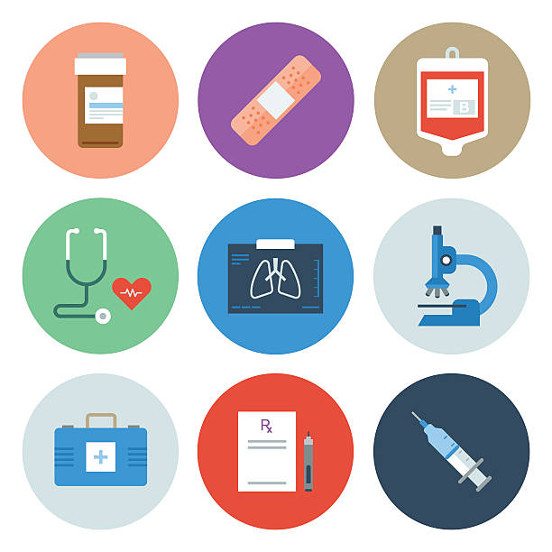 Medical Icons — Circle Series Professional icon set in flat color style. Vector artwork is easy to colorize, manipulate, and scales to any size. medical x ray stock illustrations