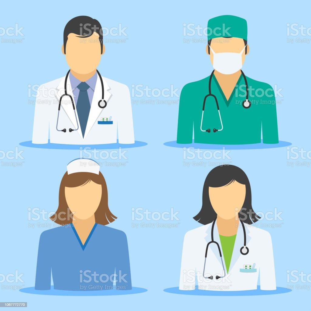Icônes médicales. Médecin et infirmière des avatars - Illustration vectorielle