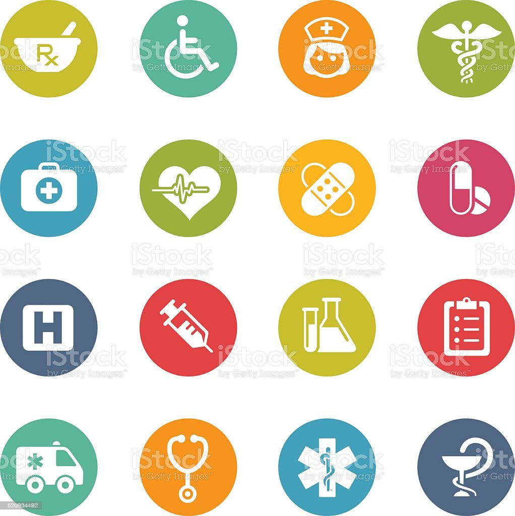 Medical Icons - Fresh Colors vector art illustration