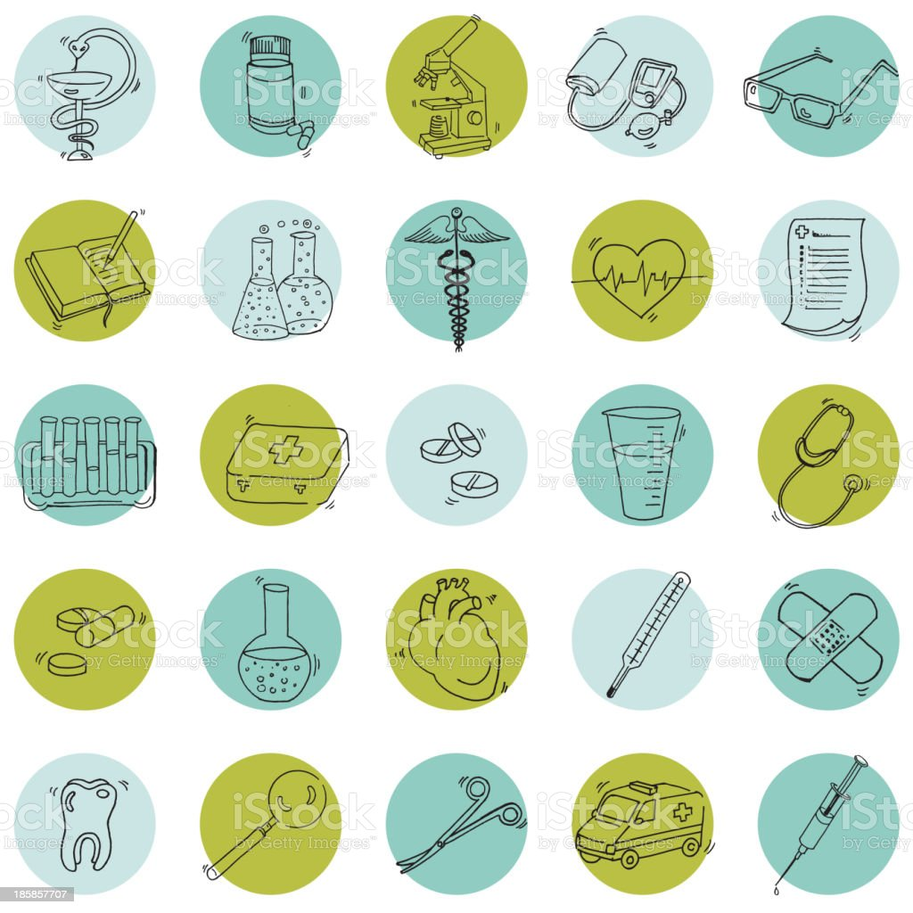 Medical Icons - hand drawn in vector royalty-free medical icons hand drawn in vector stock vector art & more images of anatomy