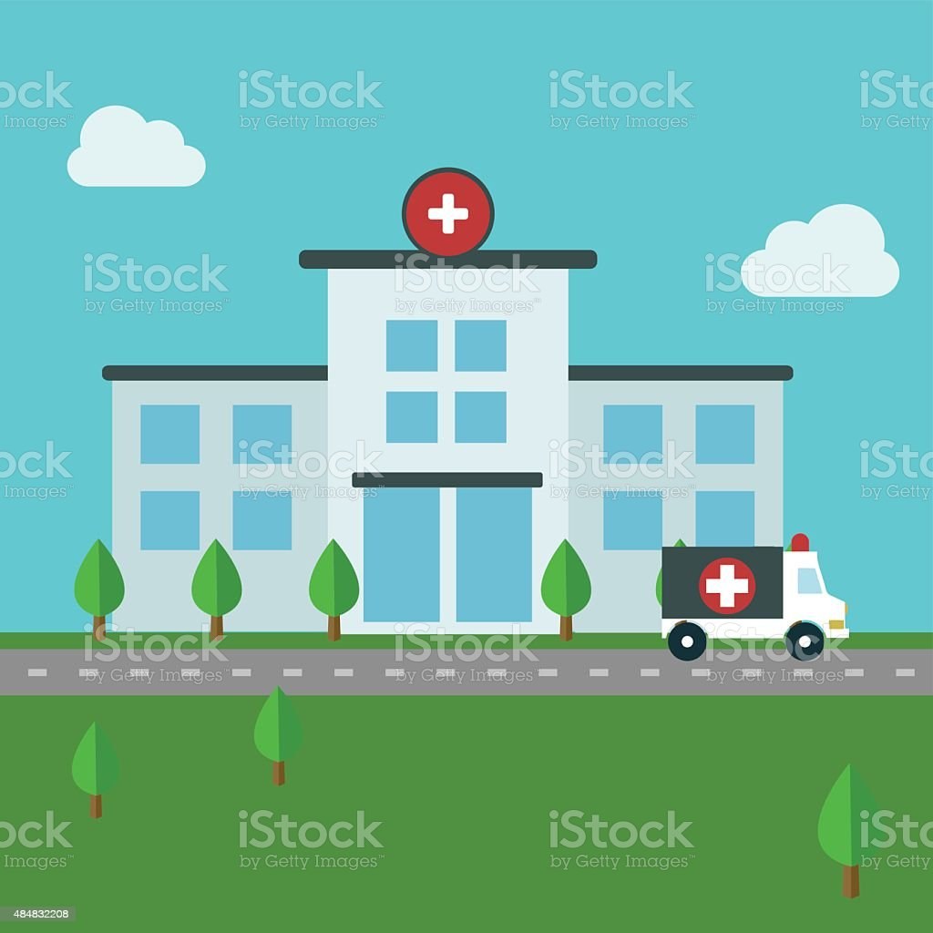 Medical icons, hospital building, architecture vector design vector art illustration