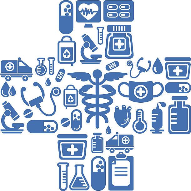 Medical Icons In Cross Shape Vector Art Illustration