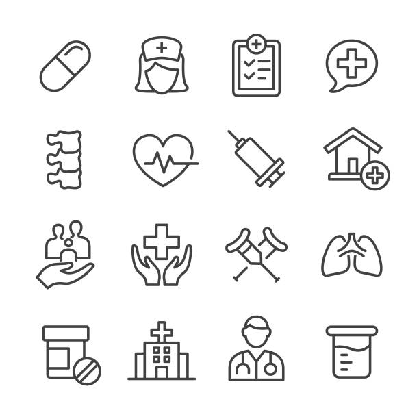 Medical Icons - Line Series Medical, physical therapy stock illustrations