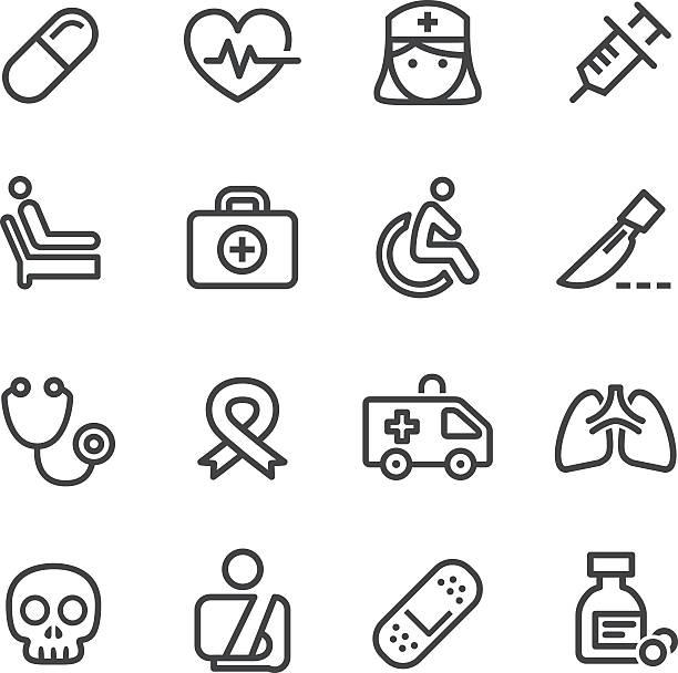 医療アイコン-ラインシリーズ - 救急救命士点のイラスト素材/クリップアート素材/マンガ素材/アイコン素材