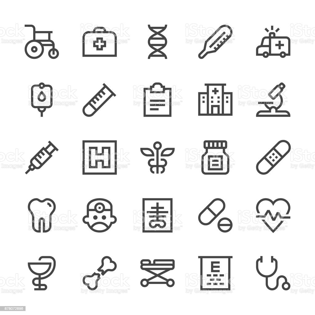 Medical Icons - MediumX Line vector art illustration