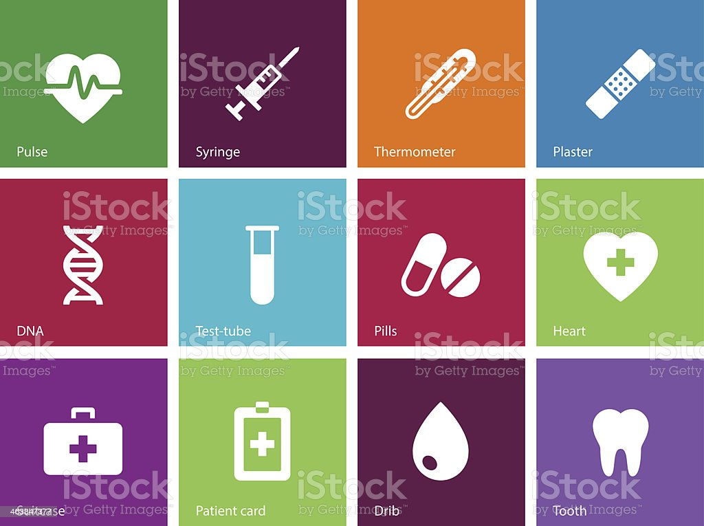 Medical icons on color background. vector art illustration