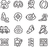 Medical Icons Related to Different Branches of Medicine