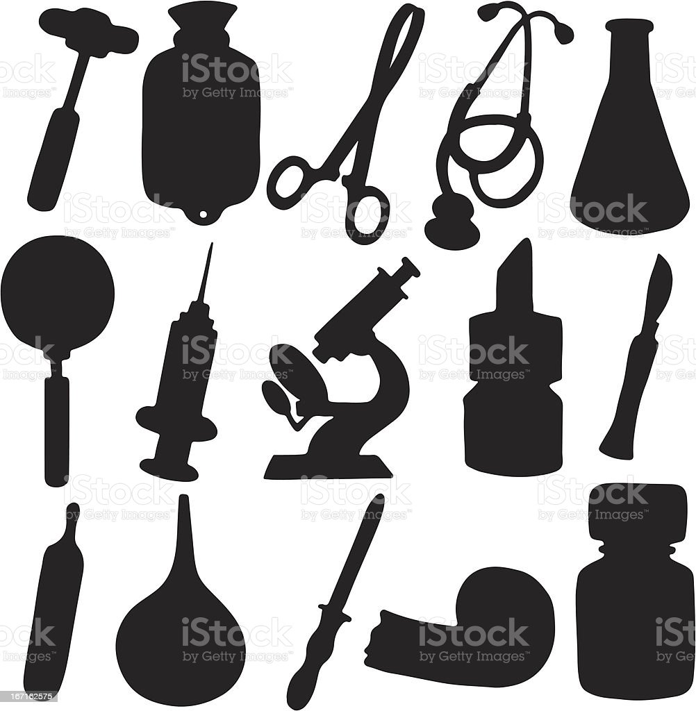 Medical icons set black silhouette royalty-free stock vector art