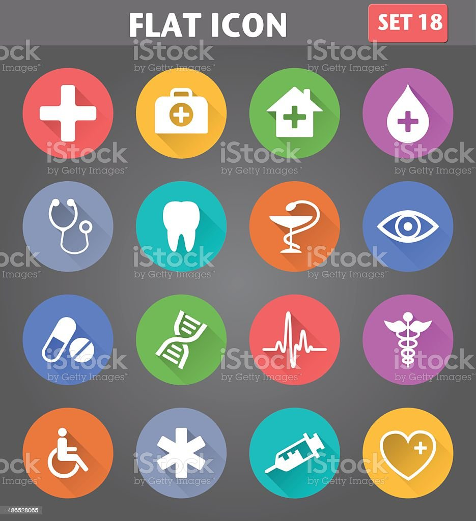 Medical Icons set in flat style with long shadows. vector art illustration