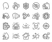 istock Medical icons set. Included icon as Coronavirus vaccine, Head, Not looking signs. Vector 1318810218