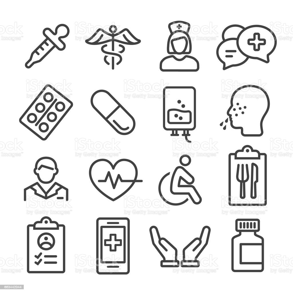 Medical Icons Set - Line Series vector art illustration
