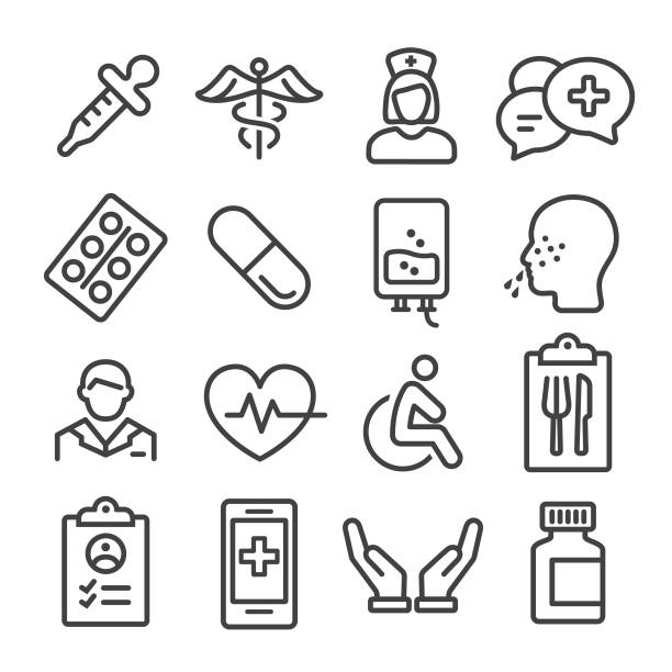 medical icons set - line series - nurse stock illustrations, clip art, cartoons, & icons