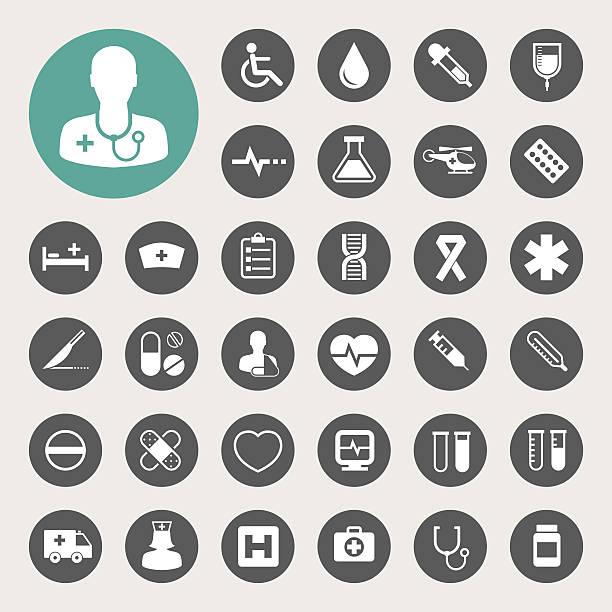 Medical icons set. Illustration eps 10 cancer patient stock illustrations