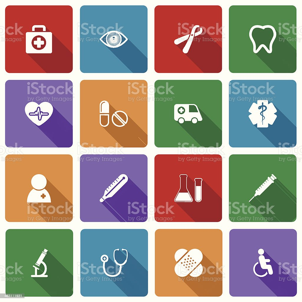 Medical Icons Set with Long Shadow vector art illustration