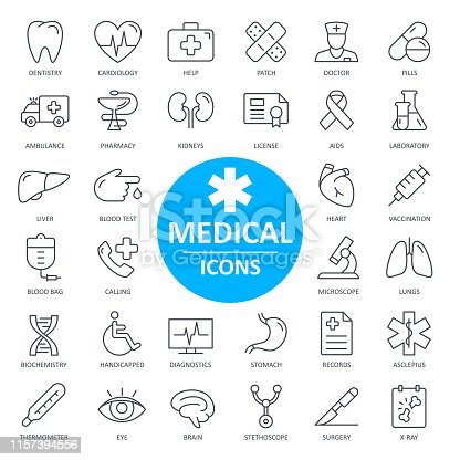 Medical Icons - Thin Line Vector Illustration. Health and Medicine