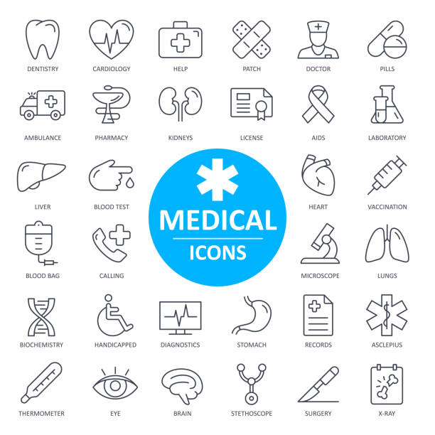 Medical Icons - Thin Line Vector. Health and Medicine Medical Icons - Thin Line Vector Illustration. Health and Medicine medical x ray stock illustrations