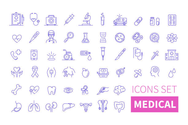 medical icons Health and medicine thin line icons. Line style vector illustration. gynecology stock illustrations
