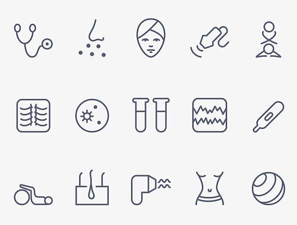 ilustraciones, imágenes clip art, dibujos animados e iconos de stock de iconos de médicos - dermatología