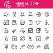Healthcare and medicine, hospital, medicine, ambulance, icon, doctor, icon set, medical exam