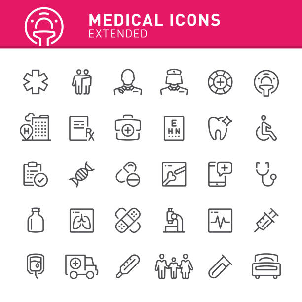Medical Icons Healthcare and medicine, hospital, medicine, ambulance, icon, doctor, icon set, medical exam medical x ray stock illustrations