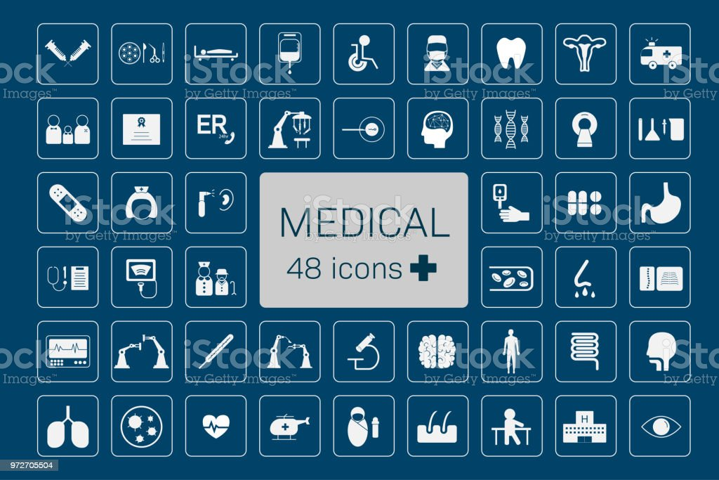 48 medical icons vector art illustration