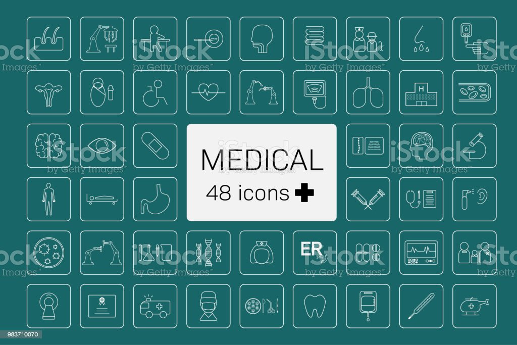 48 medical icons vector art illustration