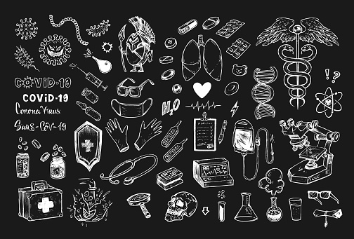Medical icons with coronavirus Covid-19, lungs, vaccine and pills, hospital or laboratory equipment on black background. Set of Healthcare symbols chalk drawing style doodles vector illustration