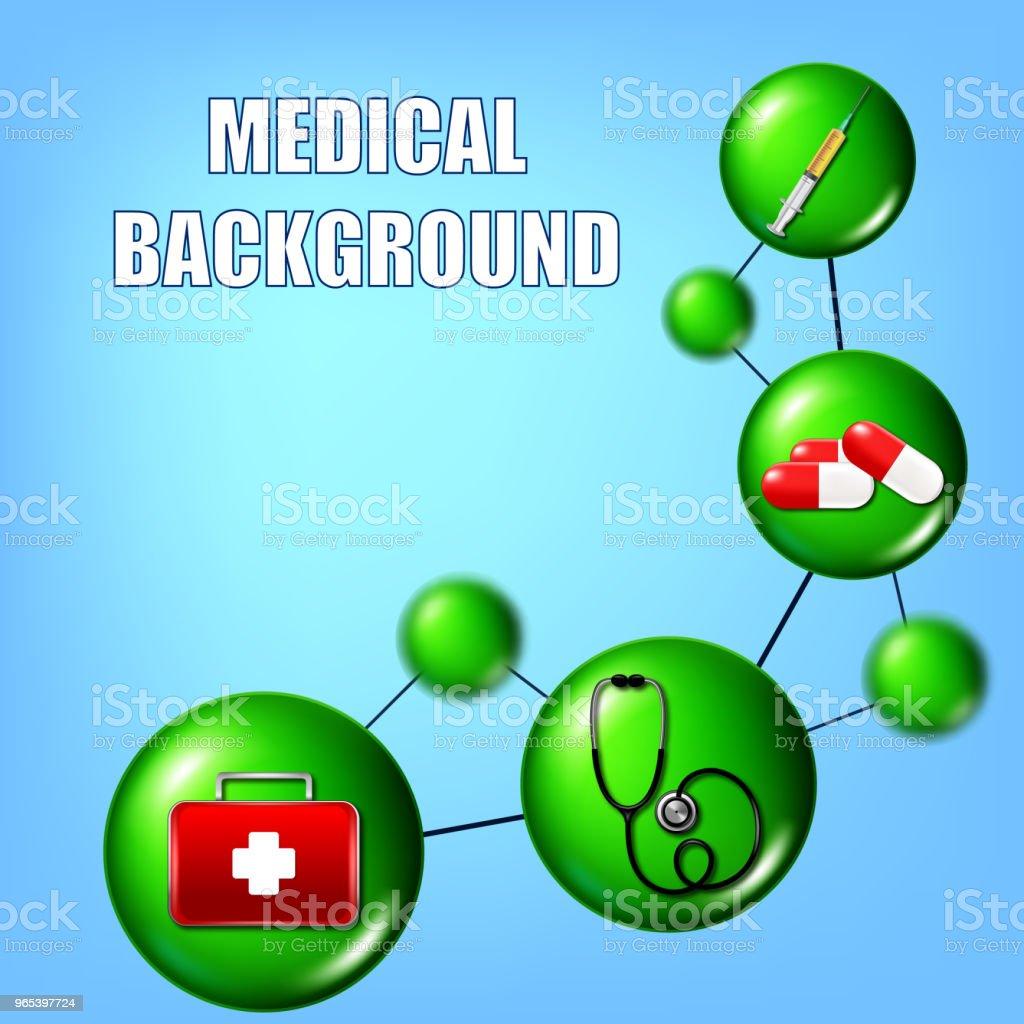 醫療插圖用注射器, 藥片, 急救箱和 stethocoque - 免版稅信息圖形圖庫向量圖形