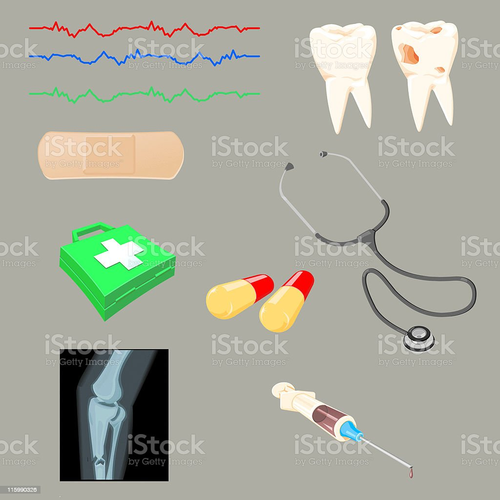 Medical Illustrations and Icons vector art illustration
