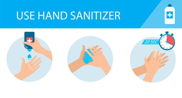 Medical infographic - how to use hand sanitizer. Medical infographic - how to use hand sanitizer. Step by step instructions and guidelines. Personal hygiene and disease prevention, healthcare for prevent virus. Vector illustration. rubbing alcohol stock illustrations