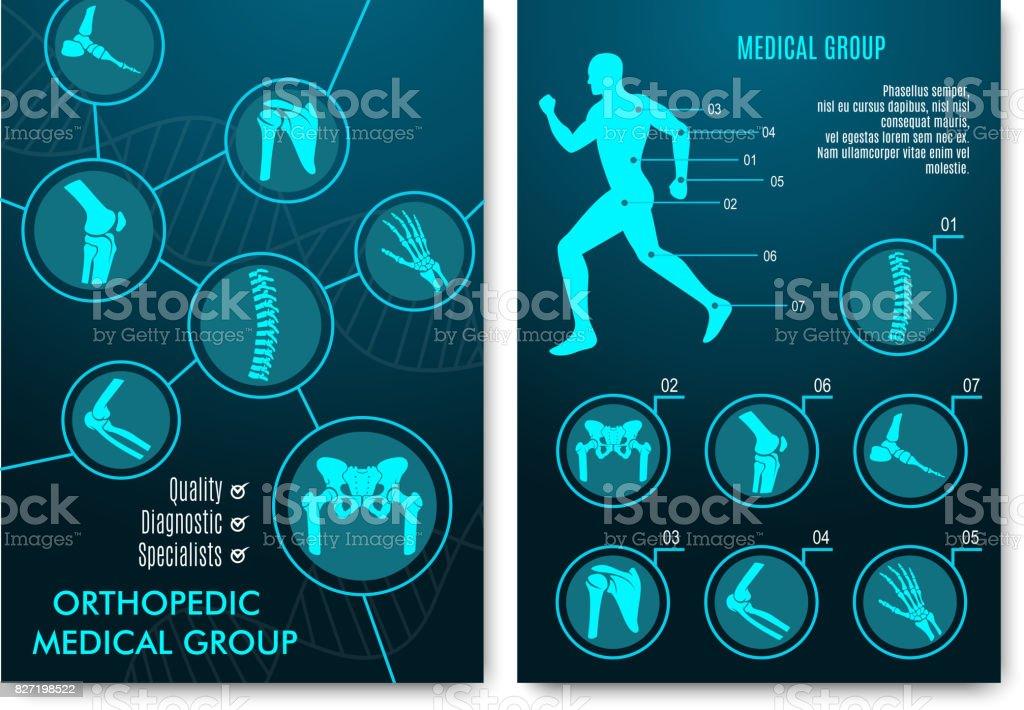 Medizinische Infografik Mit Orthopädische Anatomie Diagramme Stock ...