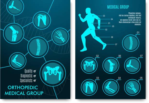 ilustrações, clipart, desenhos animados e ícones de infográfico de médico com gráficos de anatomia ortopédica - ortopedia